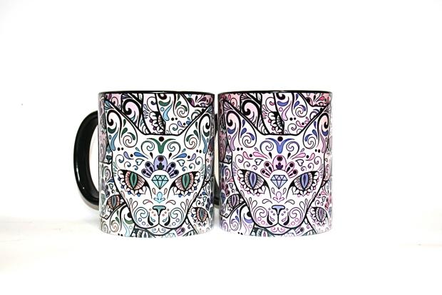 Sugar skull cats mug